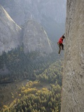 A Climber, Without a Rope, Grips an Expanse of El Capitan Photographic Print by Jimmy Chin