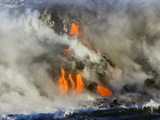 Glowing Lava and Rising Steam at the Edge of the Sea Photographic Print by Patrick McFeeley