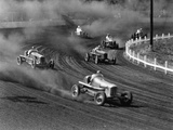 Race Cars Roar around the Track at the Iowa State Fair in 1938 Photographic Print by J. Baylor Roberts