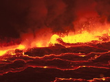 Waves of Lava in Nyiragongo's Crater Fotografisk tryk af Peter Carsten