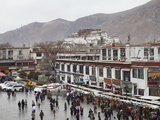 Borkhar Market with Potala Palace in the Background Photographic Print by Kent Kobersteen