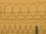 Barbed Wire Fence and its Shadow Against a Wall Photographic Print by Paul Sutherland