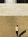 An Early Morning Jogger Casts His Shadow on the Lincoln Memorial Steps Photographic Print by Brian Gordon Green
