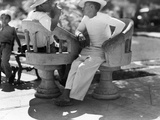 Two Men Talk in One of Merida's Plazas Photographic Print by Luis Marden