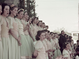 At St. Anne's Parish, the  Girls' Choir Practices 'O Canada.' Photographic Print by Howell Walker
