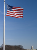 United States Flag Flying at the Washington Monument. Capitol Beyond Photographic Print by Paul Sutherland