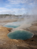 Steam Rising from Turquoise-Hued Water in a Geothermal Colloidal Pool Photographic Print by Marc Moritsch