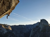 Without a Rope, a Climber Scales a Route on Glacier Point Called Heaven Lmina fotogrfica por Mikey Schaefer
