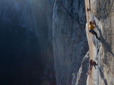 Climbers, Without Ropes, Grip an Expanse of El Capitan Photographic Print by Jimmy Chin