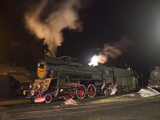 Polish State Railways Steam Locomotive Parked for the Night Photographic Print by Kent Kobersteen