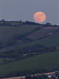 Moonrise over a Hilly Countryside in Southwest England Photographic Print by Nigel Hicks