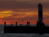 Grand Haven Pier on Lake Michigan at Twilight Photographic Print by Karen Kasmauski