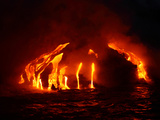 Glowing Hot Lava Flowing into the Sea at Night Photographic Print by Patrick McFeeley