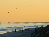 Birds Soaring over Silhouetted Beach Fishermen at Twilight Photographic Print by Brian Gordon Green