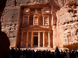 Tourists at the Treasury, Al Khazneh, in Petra Photographic Print by Kent Kobersteen