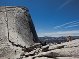 Tourists Wait in Line Enroute to the Cable Route on Half Dome Photographic Print by Jimmy Chin