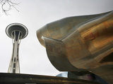 The Space Needle Behind the Experience Music Project Building Photographic Print by Aaron Huey