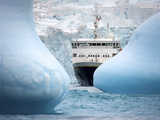 National Geographic Explorer Seen Between Icebergs at Elephant Island Photographic Print by  Keenpress