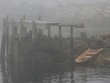 Rowboat in the Rocks and a Pier in Early Morning Fog Photographic Print by Anne Keiser
