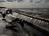 Windblown Icicles Coat a Pier on a Chesapeake Bay Winter Day Photographic Print by Stephen St. John