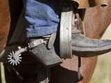 A Cowboy Boot and Spur in a Stirrup of a Saddle Photographic Print by Robbie George