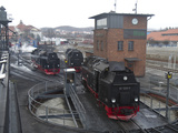 Meter-Gauge 2-10-2T Steam Locomotives on the Turntable and in Shop Areas Photographic Print by Kent Kobersteen