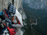 Climbers Live in a Portaledge When Working on a Route Fotografisk tryk af Jimmy Chin