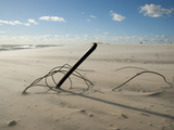 The Remains of a Fence, Knocked Down by Heavy Atlantic Storm Surges Fotografisk tryk af Karen Kasmauski