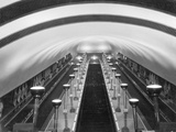 Escalators in a 'Tube' Station Photographic Print by Maynard Owen Williams