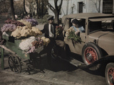 A Woman in a Car Buys Flowers from a Street Vendor in Dupont Circle Photographic Print by Edwin L. Wisherd