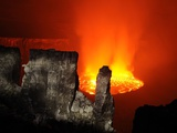 A Fiery Lava Lake in Nyiragongo's Crater Photographic Print by Carsten Peter