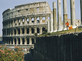 People Sit in Sun in Temple of Venus and Rome Overlooking Colosseum Photographic Print by B. Anthony Stewart