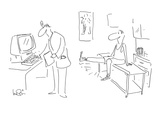Doctor pressing key on computer, causes patient's knee-jerk reaction. - Cartoon Premium Giclee Print by Arnie Levin