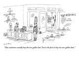 """""""Our customers usually buy the ten-gallon hat. You're the first to buy ten…"""" - New Yorker Cartoon Premium Giclee Print by Michael Maslin"""