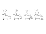 Four drawings.  Cloud above man's head indicates that he's thinking; cloud… - New Yorker Cartoon Premium Giclee Print by Mischa Richter