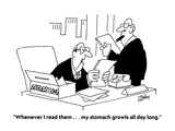 """Whenever I read them . . . my stomach growls all day long."" - Cartoon Premium Giclee Print by Bob Zahn"