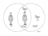 "chart showing the intersection of ""men"" and ""feathered animals"" to be ""men… - Cartoon Premium Giclee Print by Robert Mankoff"