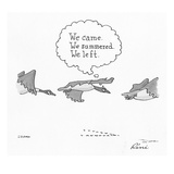 Flying geese with a thought balloon over one that says, 'We came. We summe… - Cartoon Premium Giclee Print by J.P. Rini