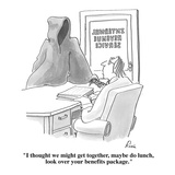 """I thought we might get together, maybe do lunch, look over your benefits …"" - Cartoon Premium Giclee Print by J.P. Rini"