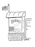 Two signs on bookstore read; 'Rare Books'and 'Rare Audio Books.' - Cartoon Premium Giclee Print by Aaron Bacall