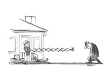 Wife lures husband into the house after work with drink on extended arm. - New Yorker Cartoon Premium Giclee Print by Lee Lorenz