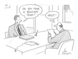 Executive job applicant asks personnel director, 'Do you have a bowling te… - Cartoon Premium Giclee Print by Leo Cullum