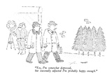 """""""Yes, I'm somewhat depressed, but seasonally adjusted I'm probably happy e…"""" - New Yorker Cartoon Premium Giclee Print by Robert Mankoff"""