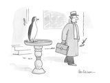 Man, leaving house on freezing winter morning, sees a penguin sitting on b… - Cartoon Premium Giclee Print by Leo Cullum