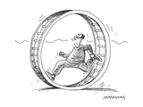 man is running/jogging in a circular treadmill, hamster-like; treadmill ha… - Cartoon Premium Giclee Print by Mick Stevens