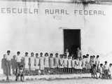 Yucatan Children Stand Outside a Federally Funded School in Piste Photographic Print by Luis Marden