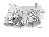 Two men at their club, each reading a book; one reads 'The Coming Boom,' t… - New Yorker Cartoon Premium Giclee Print by Frank Modell