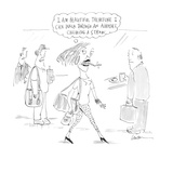 I am beautiful therefore I can walk through an airport chewing a straw.' - Cartoon Premium Giclee Print by Mary Lawton