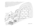 crying man in a boat at an amusement park rides the 'Tunnel of Unrequited … - Cartoon Premium Giclee Print by Mick Stevens