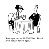 """""""Your logon password is XB#2D940.  Write it down and don't lose it again."""" - Cartoon Premium Giclee Print by Ted Goff"""